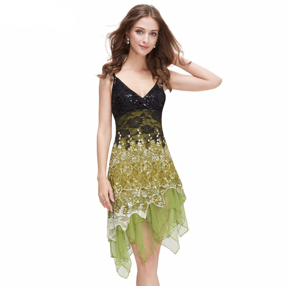 WH GR RD  Ever Pretty Flowing Lace Cocktail Dress