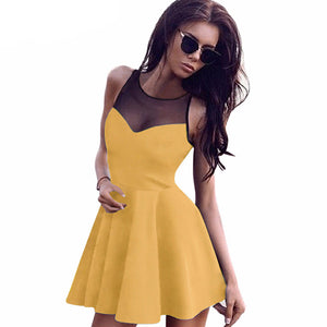 2016 Short Blue Women Summer Dress O-Neck Sleeveless