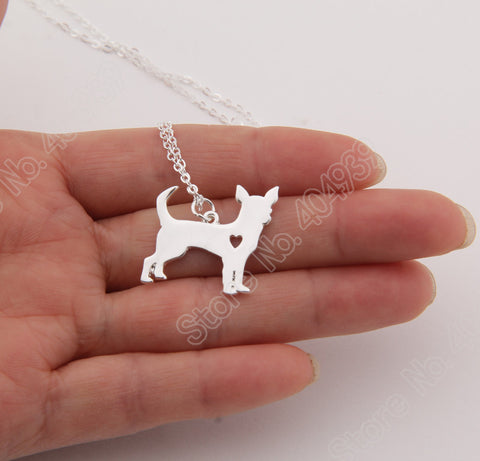1pcs Gold Chihuahua Necklace Pendant Puppy Heart Dog Lover Memorial Pet - Gifts Leads