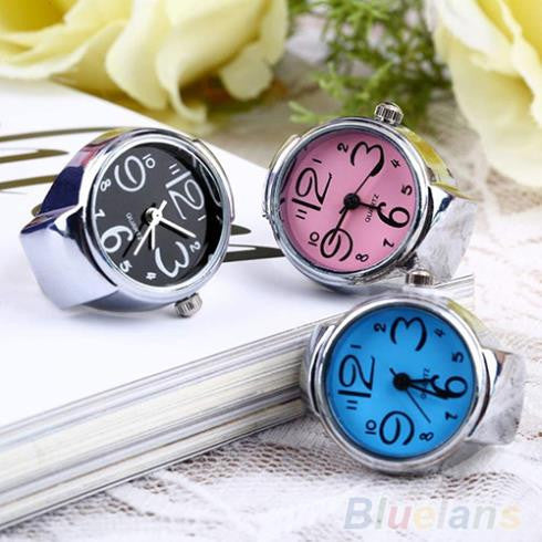 1pc Creative Fashion Jewelry Lady Girl Steel Round Elastic Quartz Finger Ring watcht women Wholesale Drop Shipping
