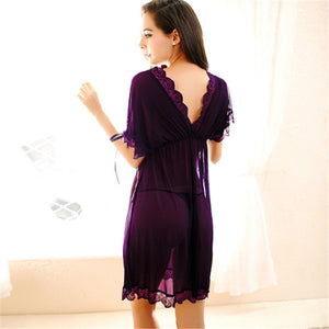 Womens Nightdress Sexy Lace Splicing Nightgowns Batwing Sleeve