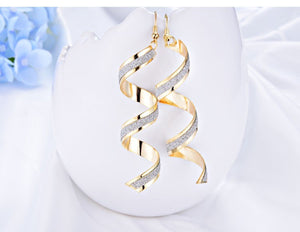 Fashion Punk Women Twist Spiral Earring Lady Girl Dangle Earrings Charm Jewelry Valentine's Day Gift Silver Gold Black 3 Colors