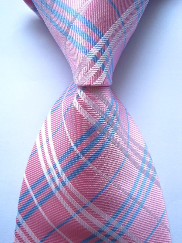 New Classic Plaid Blue White 100% Silk Men's Tie Necktie