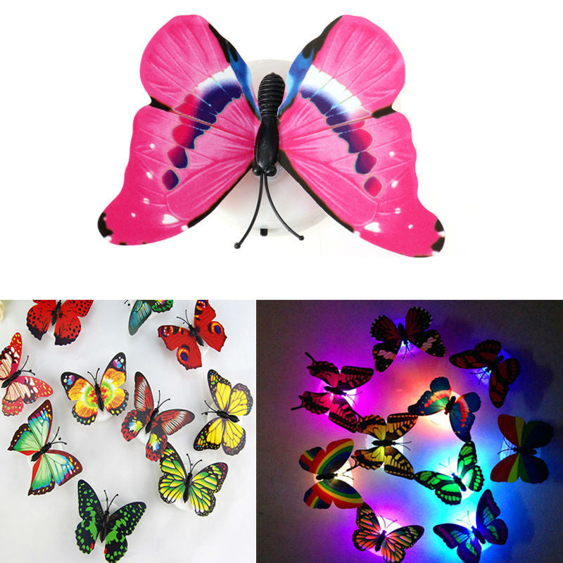 Novely Color Night Light Flashing Lamp ABS  LED Butterfly Night Lamp Home Decoration Artificial Wall Nightlights