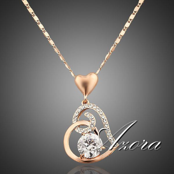 18K Real Gold Plated SWA ELEMENTS Crystals Heart Pendant Necklace - Gifts Leads