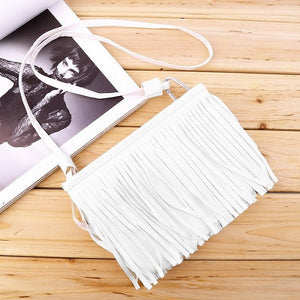 Fashion Women Punk Satchel Tassel Suede Fringe Shoulder Messenger Cross Body Bag Ladies Mini Small Casual PU Leather bags