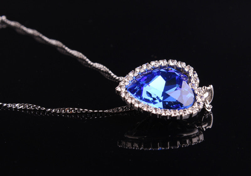 Romantic Titanic Ocean Heart Pendant Necklaces For Women Blue Crystal Rhinestone Choker Necklace 925 Sterling Silver Jewelry