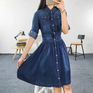 2016 Autumn Fashion plus size loose woman clothing, female casual slim denim dress, three quarter sleeve one-piece dress - Gifts Leads