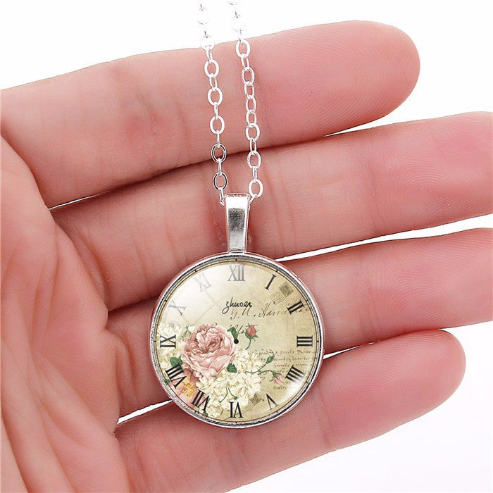 Christmas Gift  clock necklace pendant necklace glass cabochon necklace art picture silver antique bronze chain necklace