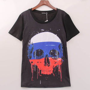 2016 Fashion Rock T Shirt Women Tricolor Skull Printed Printing T-shirt Women Band Cool Summer Hot Tee Top Shirt Femme Sakura