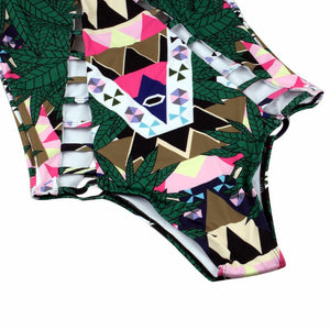 2016 Designer Retro Totem Printing One Piece Swimsuit Cut Out Monokini Piece Bathing Suit Bodysuit Back Bandage Swimwear Girls