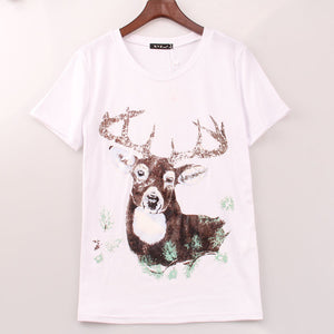 2 Colors Cute Kawaii T Shit Women Cartoon Deer Printed Printing T-shirt Women Summer Casual Top Tee Shirt Femme Sakura Clothes - Gifts Leads