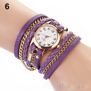 Watches  Weave Wrap Rivet Leather Bracelet Wrist Watches