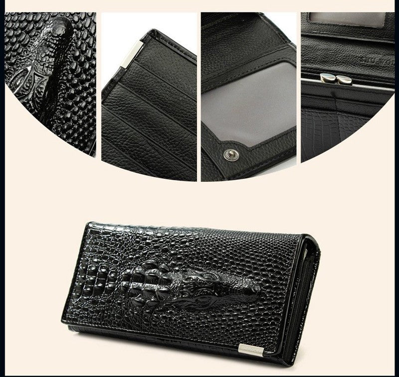 2016 3D Crocodile Grain Women Long Wallets Genuine Leather - Gifts Leads
