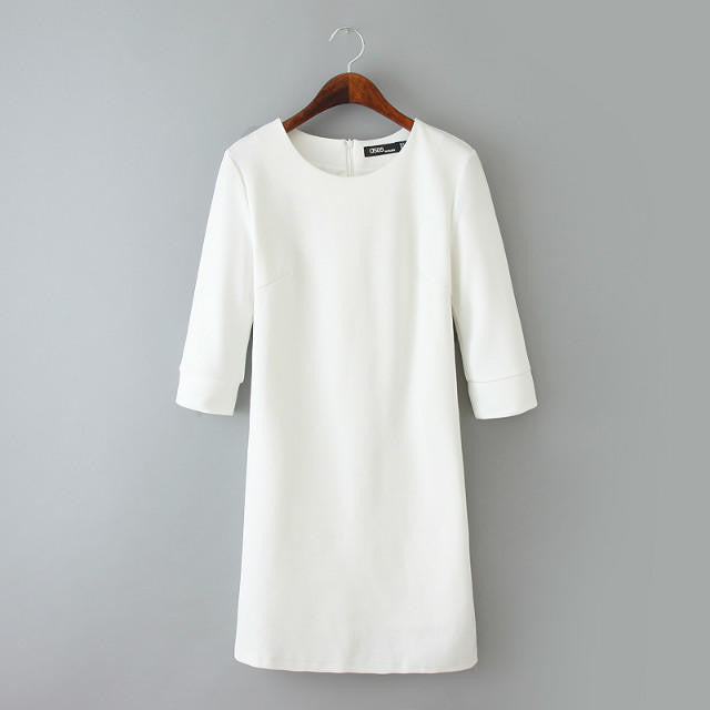 2016 Autumn And Winter new arrival women fashion elegant slim dress, female white three quarter sleeves casual knitted dress - Gifts Leads