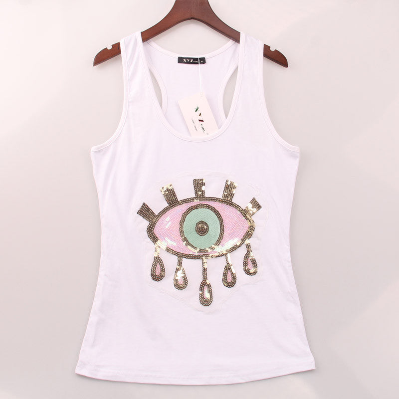 2016 2 colors Summer Hot Tank Top Women EYE Sequined Sequins Vest Women Tops Fashion Round Neck Racer Back Sport Camisole Woman - Gifts Leads