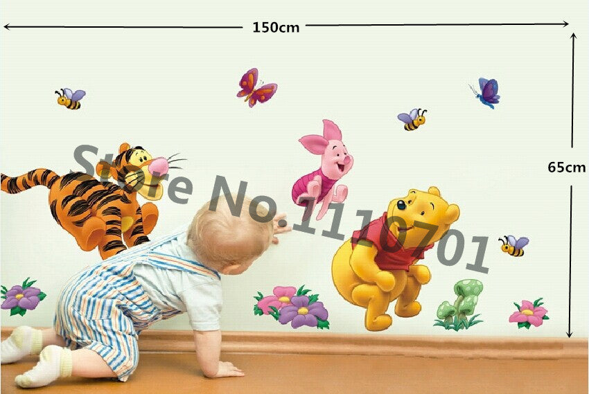 2 Pieces/Set New Fashion Plastic Cute Tiggers Bear Wall Sticker Decal Cartoon Wall Dacals Kids Room Decor 59*33 cm - Gifts Leads