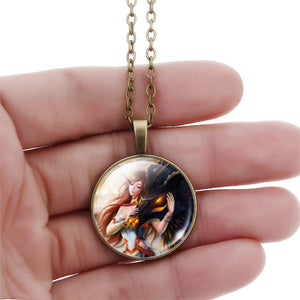 Fashion Charm Dragon With Princess 925 Sterling Silver Necklaces Glass Cabochon Statement Necklace Lover Pendant