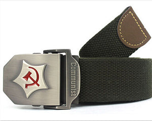 2016 New Men Belt Thicken Canvas Communist Military Belt