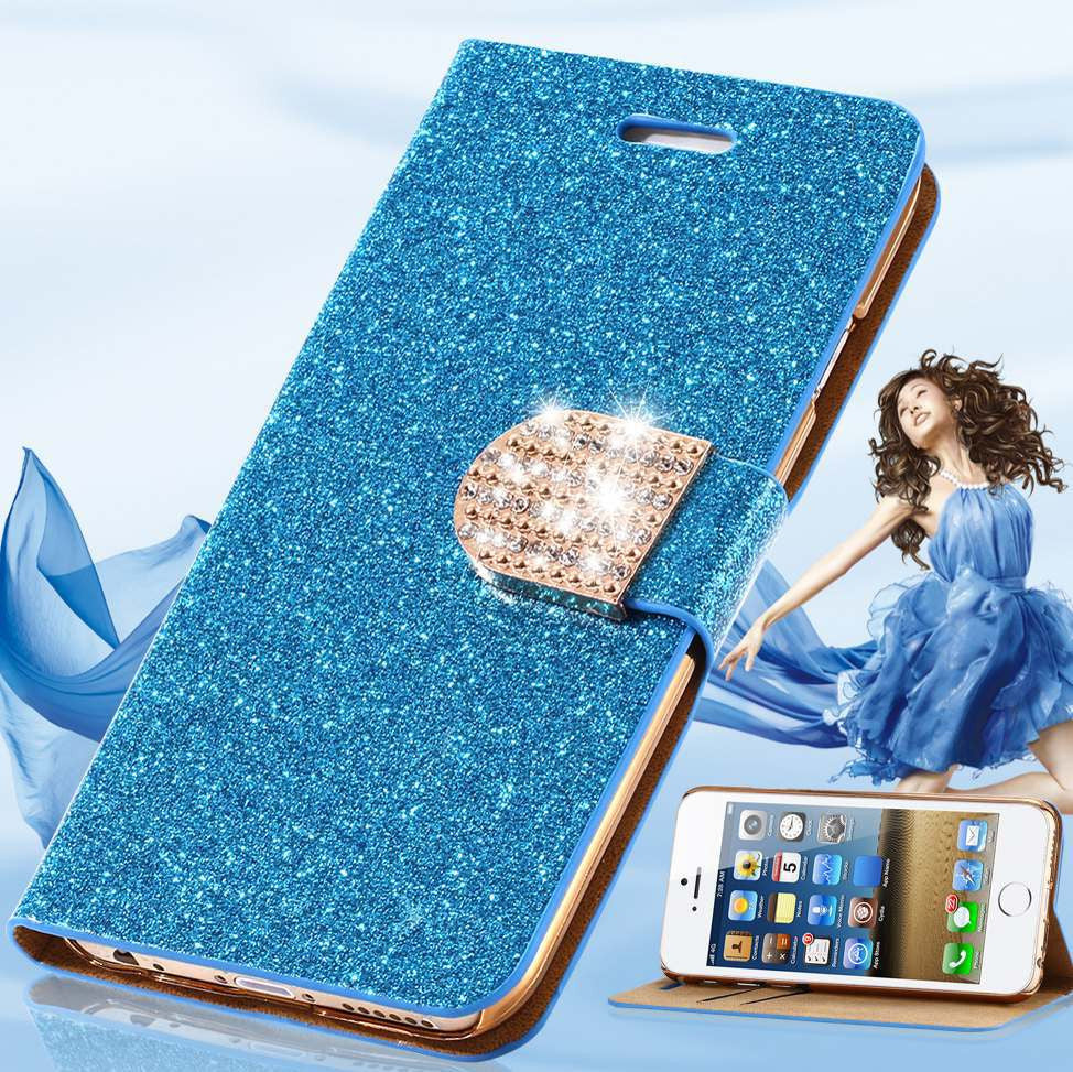 Luxury Glitter Crystal Diamond PU Leather Wallet Case For Apple iPhone