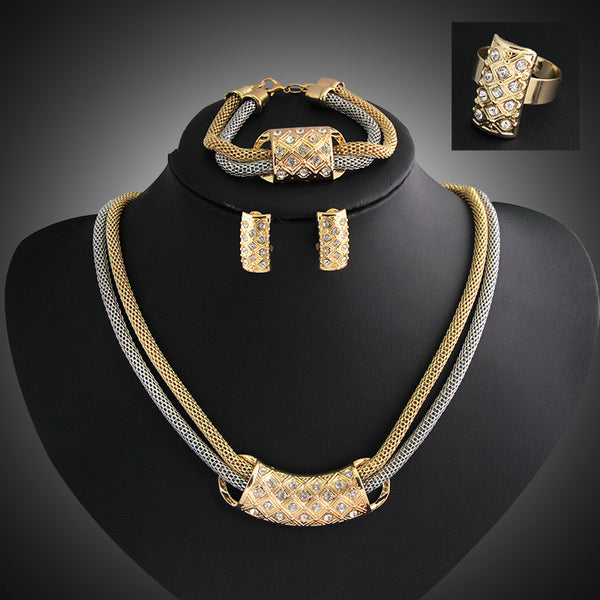 Hot New Women Fashion Jewelry Sets vintage Double chain Crystal Necklaces Earrings Bracelet adjustable ring female wedding Gift