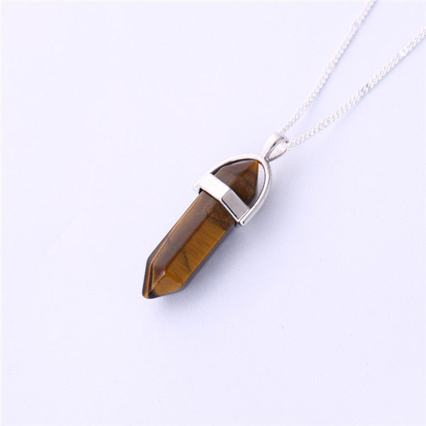 Gros Collier Femme 2016 Multi Color Quartz Necklaces Pendants Natural Stone Bullet Shape Crystal Necklace For Women Bijoux Femme