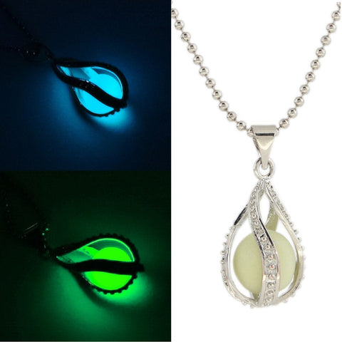 New Water Drop Locket Glow In The Dark Pendant Necklaces Glowing Luminous Stone Beads Vintage Necklaces Halloween Christmas gift