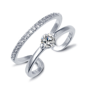 Brand designer CZ Diamond White Gold Plated double Crystal zircon rings