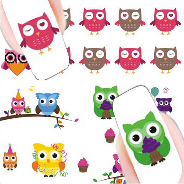 2 Patterns/Sheet Cartoon Owl Nail Art Water Decals Transfer Sticker - Gifts Leads