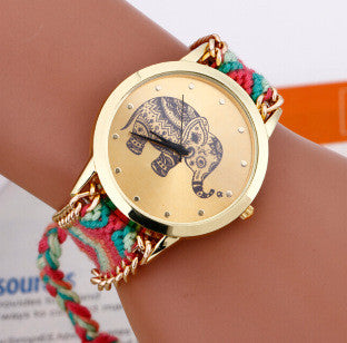 Hot selling Fashion DIY Elephant Pattern Women Dress Watches National Weave Gold Plated Bracelets & Bangles Quartz Wristwatches