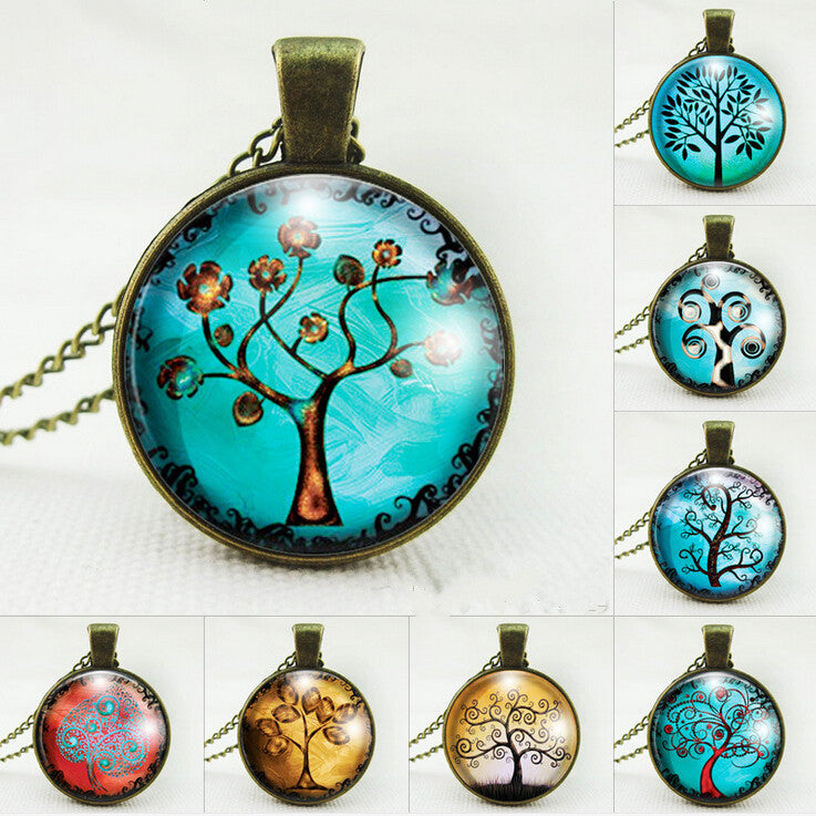 Vintage tree pendant necklace life tree picture glass cabochons antique bronze chain necklace fashion jewelry for women