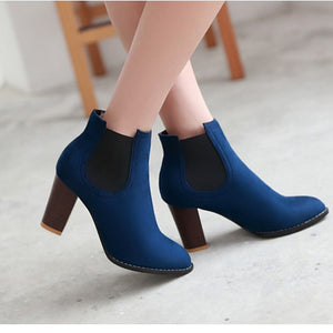 Women Ankle Boots Vintage Square High Heels Design Party