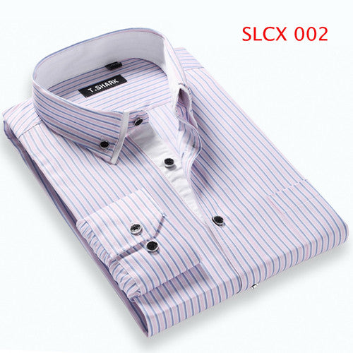 2016 Men Slim Fit Casual Shirt Long Sleeve Turn-Down