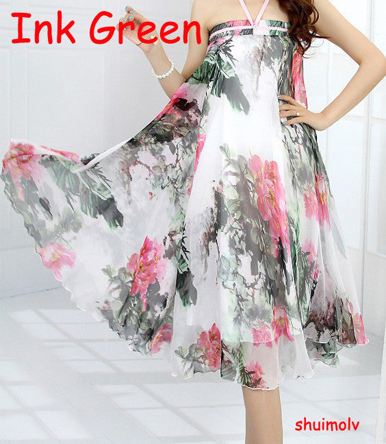Hot New 19 Patterns Peacock Feather Fake Silk Elastic Waist