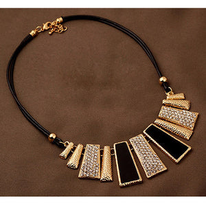 New Vintage Jewelry Gold Plated Alloy Crystal PU Leather Necklaces & Pendants