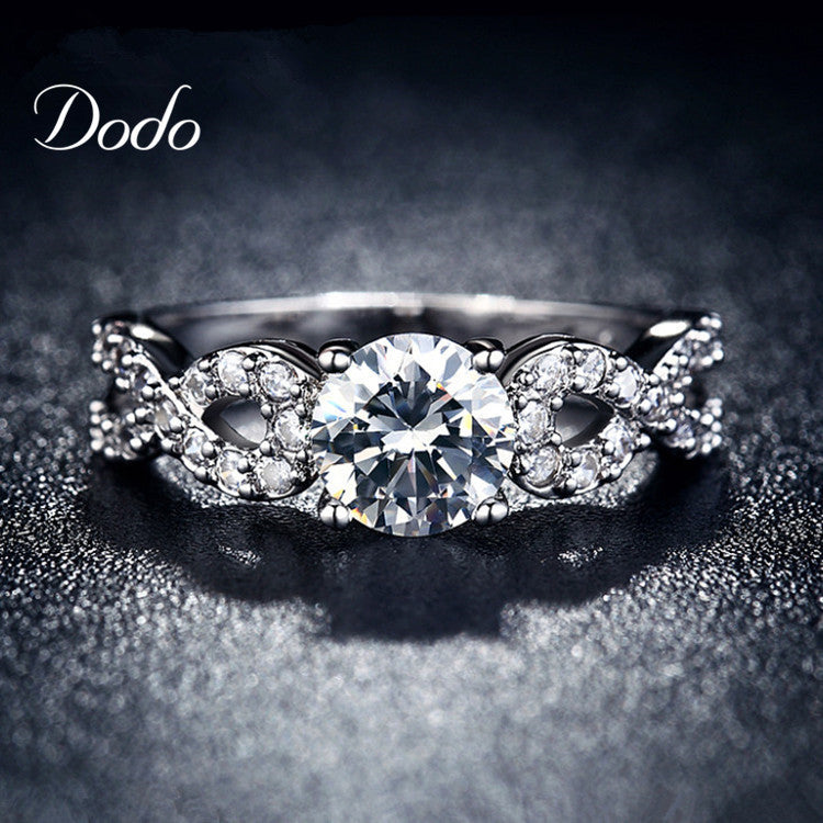 S925 Wedding Rings for women white gold filled CZ Diamond jewelry ring