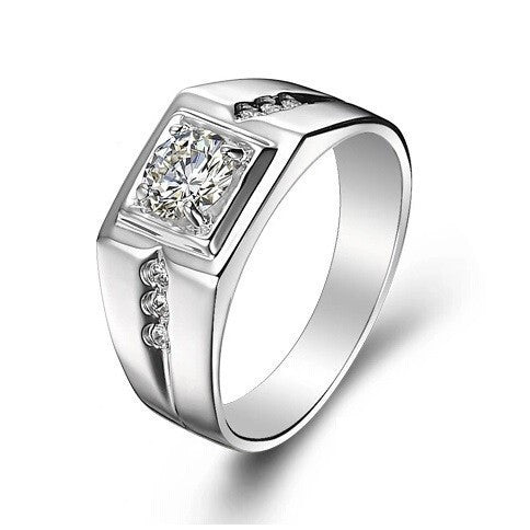 CZ Diamond Ring for Men Vintage Jewelry Crystal Anel Masculino Joias