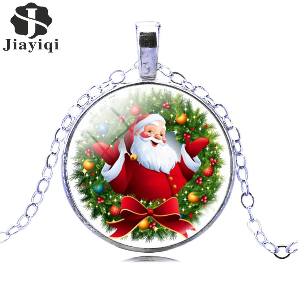 Christmas Gift Pendant Necklace Glass Cabochon Santa Claus Picture Silver Antique Bronze Vintage Chain Necklace Women Jewelry