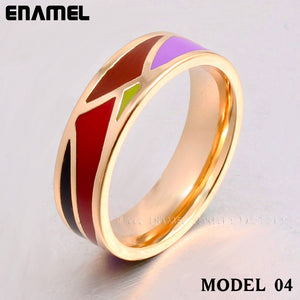 Clear inventory Vintage Brand Product Hot Selling Newest Narrow Gold Plated Stainless steel Enamel Jewelry Rings for women YL001