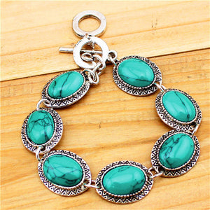 3Pcs Retro Antique Silver Plated Necklace Bracelet Earring Oval Sunflower Turquoise Resin Jewelry Sets
