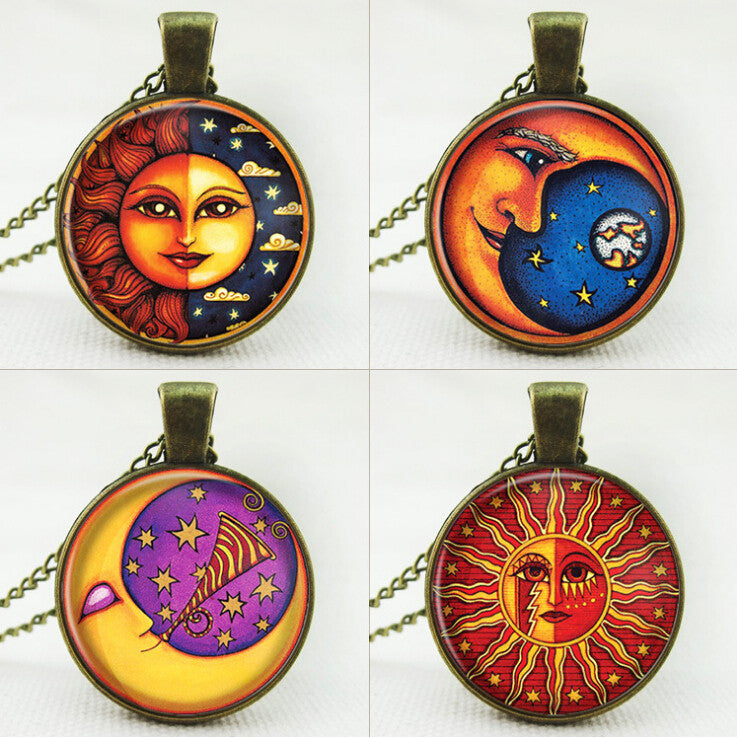 Galaxy Glass Cabochon Chain Necklace Milky Way Galaxy Nebula Space Antique Silver Sun God Pendant Necklace