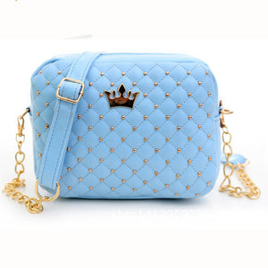 Excellent Quality 2016 Women Bag Fashion Women Messenger Bags Rivet Chain Shoulder Bag PU Leather Crossbody Quiled Crown bags
