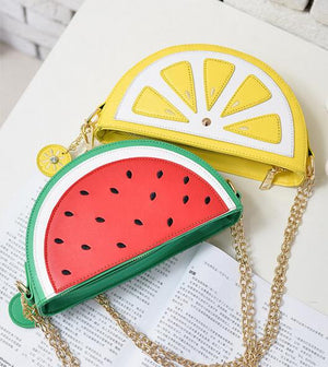 Sweet girl summer new female bag quality pu leather women bag cute fruit packet chain shoulder messenger bag orange watermelon