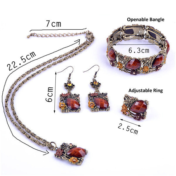 TOP Quality Women Vintage Jewelry Set gold plated jewelry sets JS001