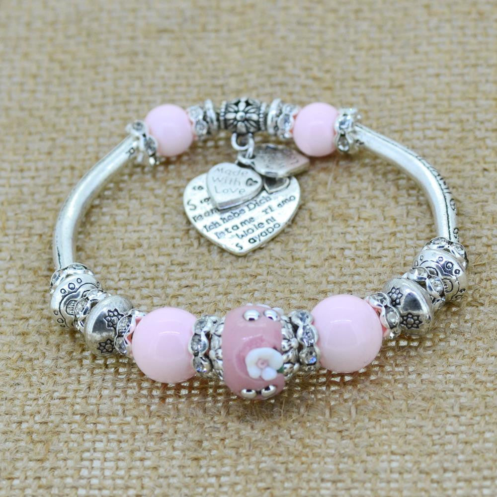 Fashion Silver Plated Jewelry Love Heart Charm Bracelets & Bangles Glass Beads Strand Bracelets for Women 2016 Fine Jewelry