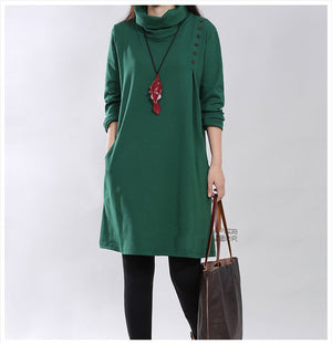 Women Clothing Loose Style Quality Turtleneck Dresss