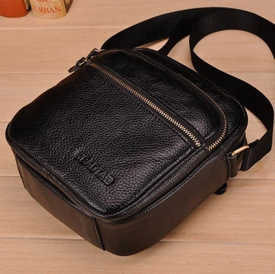 Vintage Cow Leather Men Bag Small shoulder bag