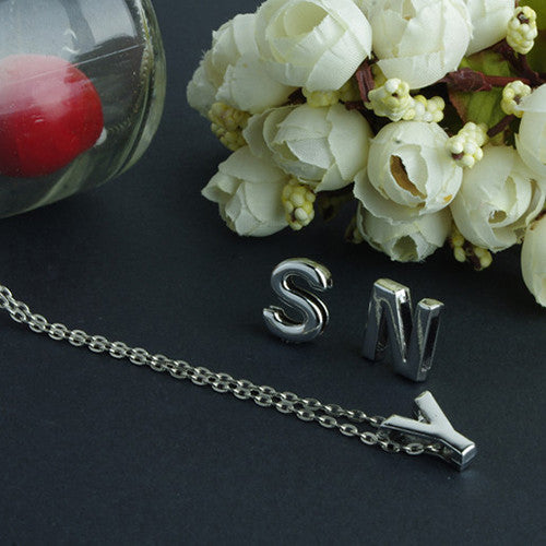 New Arrival Women's Metal Alloy DIY Letter Name Initial Link Chain Charm Korean style Necklace