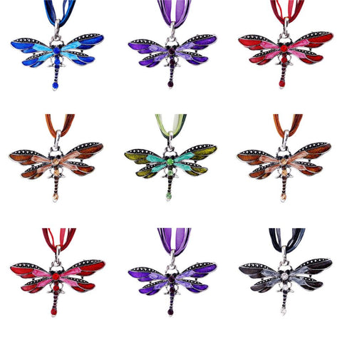 Fashion women Antique Dragonfly Crystal Pendant Necklace Chain Jewelry