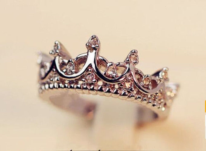Korean Style Retro Crystal Drill Hollow Crown Shaped Queen Temperament Rings